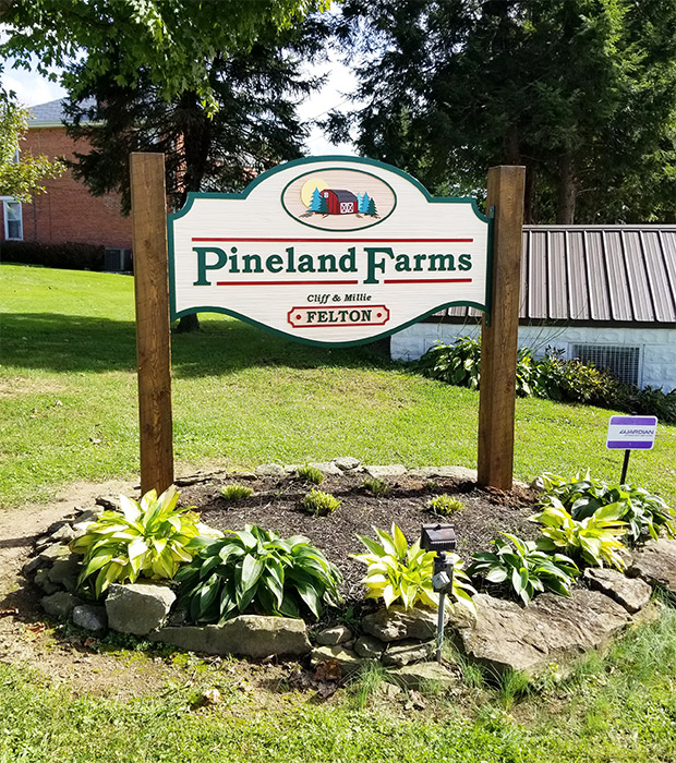 Pineland Farm Carved Sign