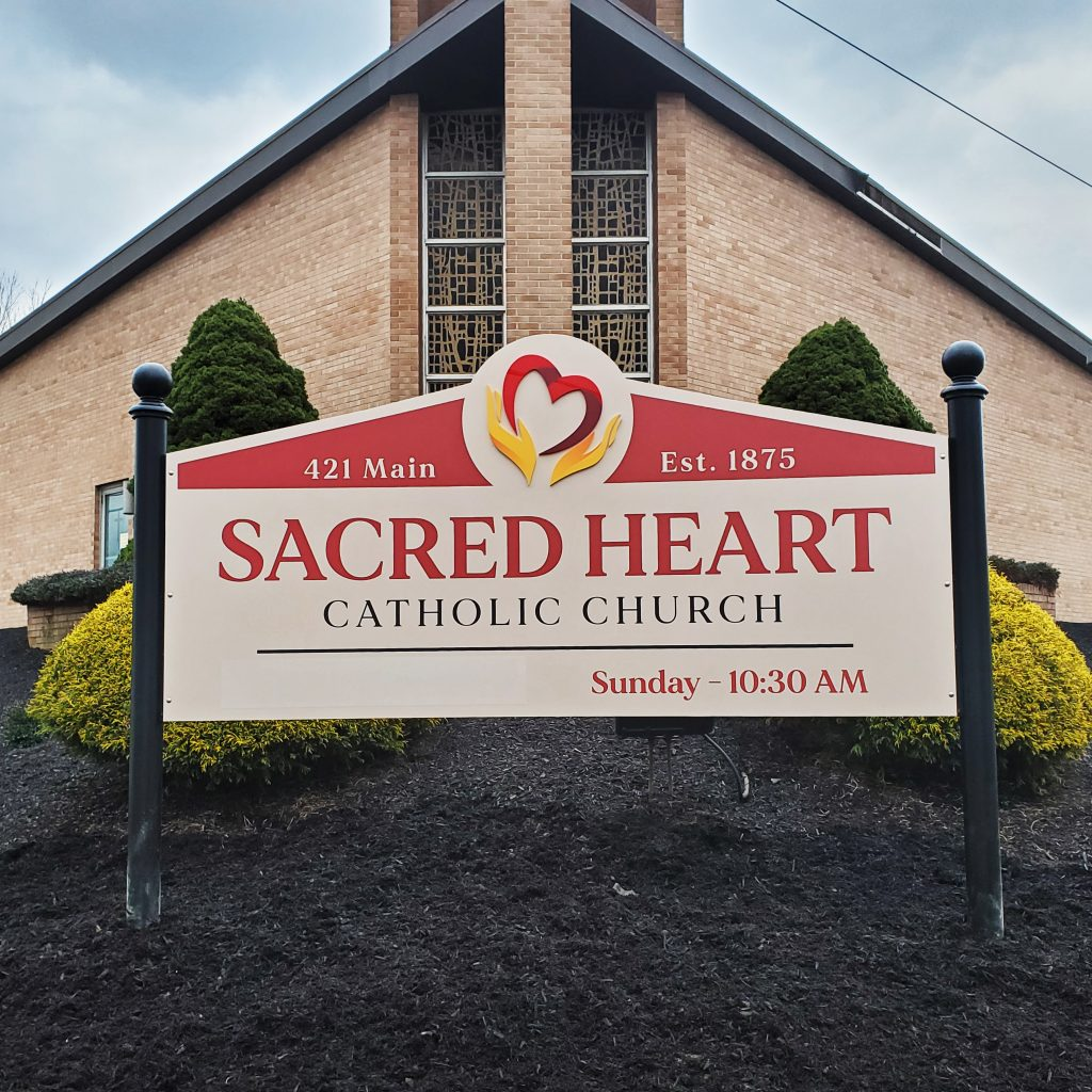 Sacred Heart Printed Vinyl Sign