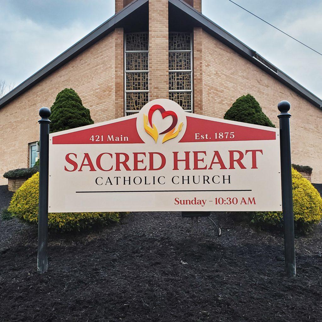 Sacred Heart Printed Vinyl Sign